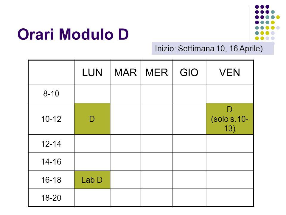 Orari Modulo D LUNMARMERGIOVEN 8-10 10-12D D (solo s.10- 13) 12-14 14-16 16-18Lab D 18-20 Inizio: Settimana 10, 16 Aprile)