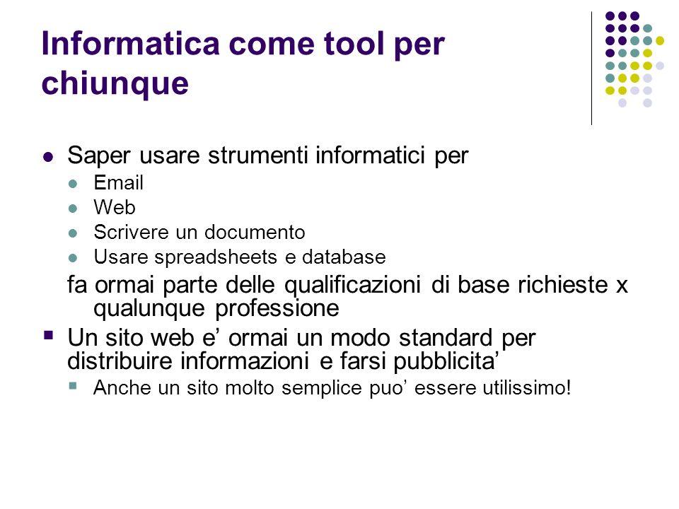 Informatica come tool per chiunque Saper usare strumenti informatici per Email Web Scrivere un documento Usare spreadsheets e database fa ormai parte