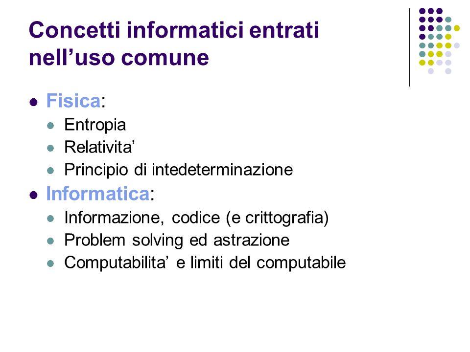 Concetti informatici entrati nelluso comune Fisica: Entropia Relativita Principio di intedeterminazione Informatica: Informazione, codice (e crittogra