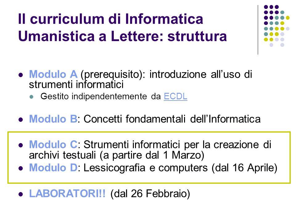 Il curriculum di Informatica Umanistica a Lettere: struttura Modulo A (prerequisito): introduzione alluso di strumenti informatici Gestito indipendent