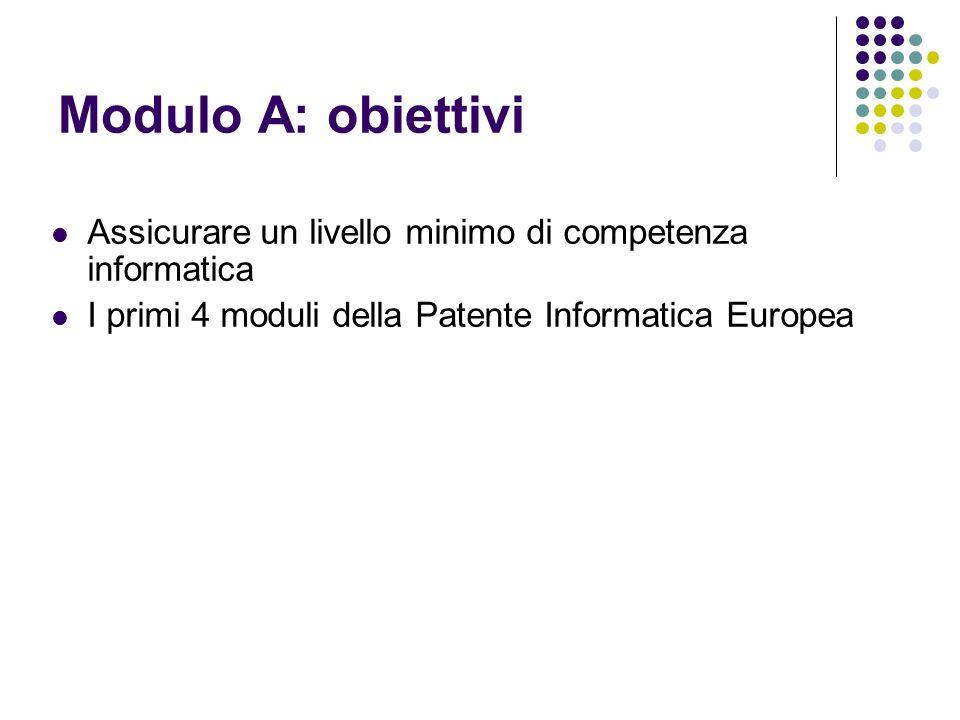 Modulo A: obiettivi Assicurare un livello minimo di competenza informatica I primi 4 moduli della Patente Informatica Europea