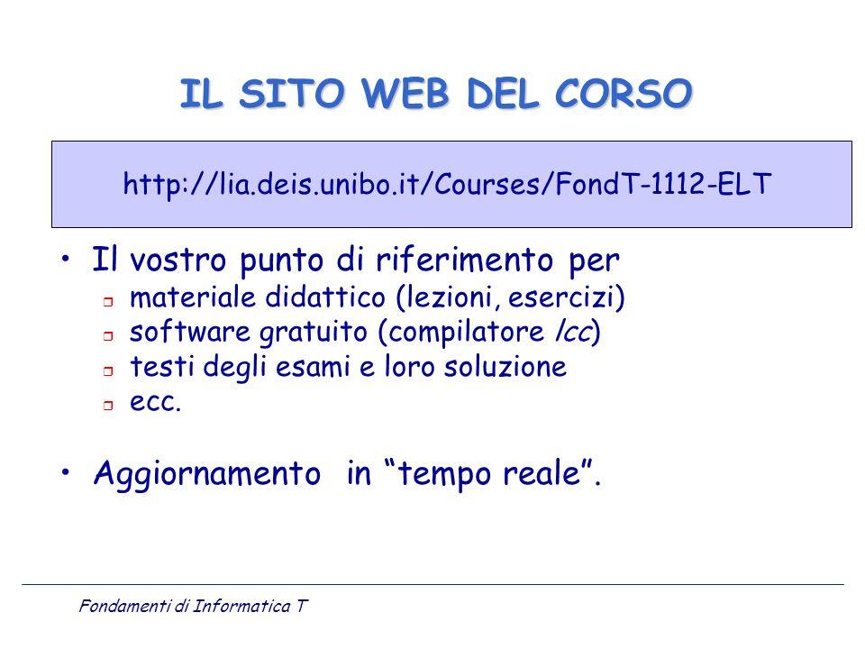 Fondamenti di Informatica T Il vostro punto di riferimento per r materiale didattico (lezioni, esercizi) r software gratuito (compilatore lcc) r testi