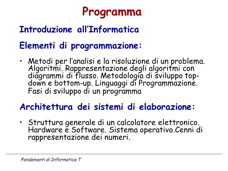 Fondamenti di Informatica T Programma Introduzione allInformatica Elementi di programmazione: Metodi per lanalisi e la risoluzione di un problema. Alg