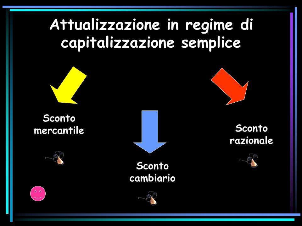 Attualizzazione in regime di capitalizzazione semplice Sconto mercantile Sconto razionale Sconto cambiario