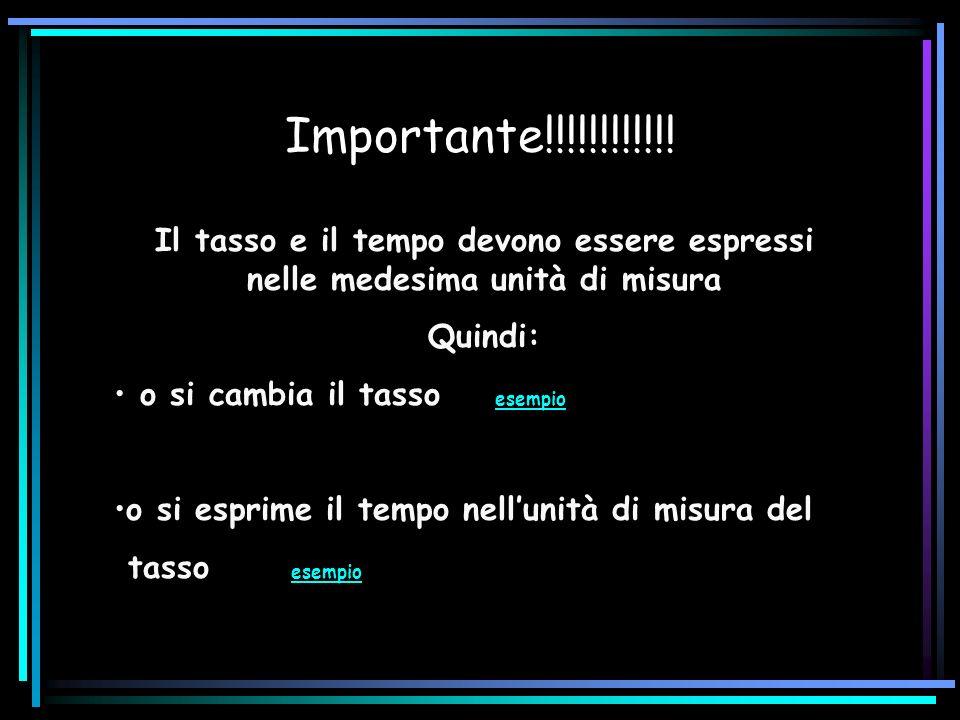 Importante!!!!!!!!!!!! Il tasso e il tempo devono essere espressi nelle medesima unità di misura Quindi: o si cambia il tasso esempio esempio o si esp