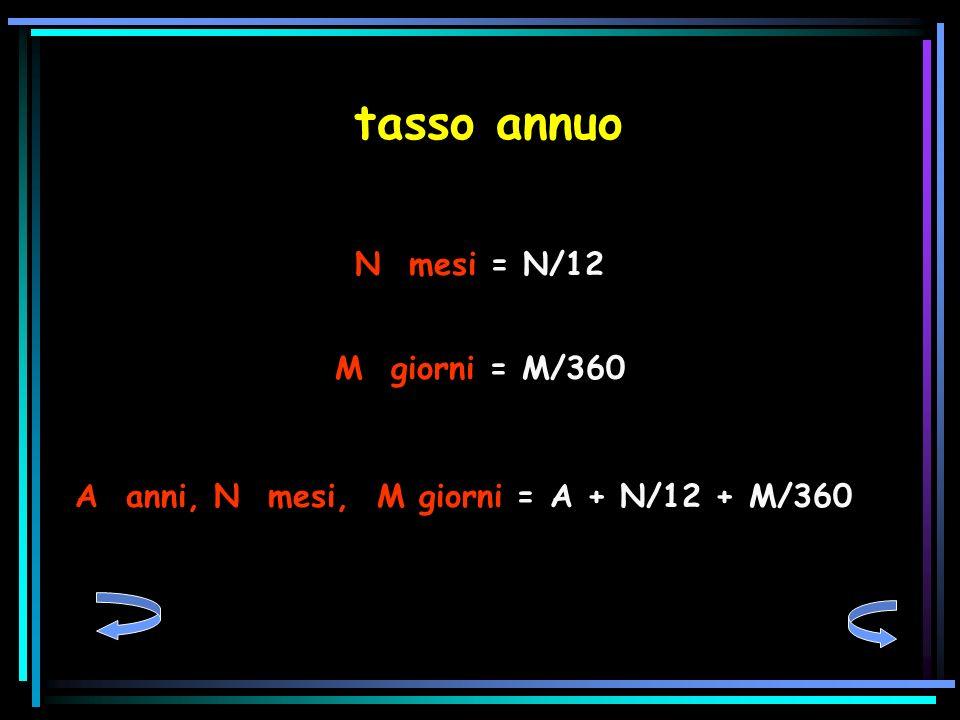 tasso annuo N mesi = N/12 M giorni = M/360 A anni, N mesi, M giorni = A + N/12 + M/360