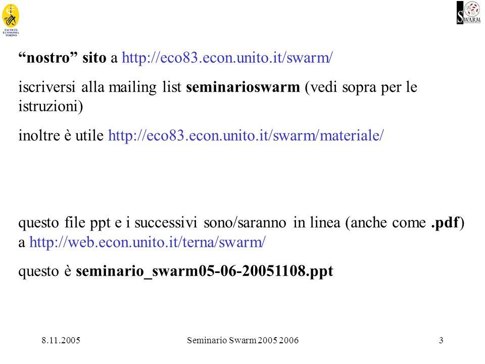 8.11.2005Seminario Swarm 2005 20063 nostro sito a http://eco83.econ.unito.it/swarm/ iscriversi alla mailing list seminarioswarm (vedi sopra per le istruzioni) inoltre è utile http://eco83.econ.unito.it/swarm/materiale/ questo file ppt e i successivi sono/saranno in linea (anche come.pdf) a http://web.econ.unito.it/terna/swarm/ questo è seminario_swarm05-06-20051108.ppt