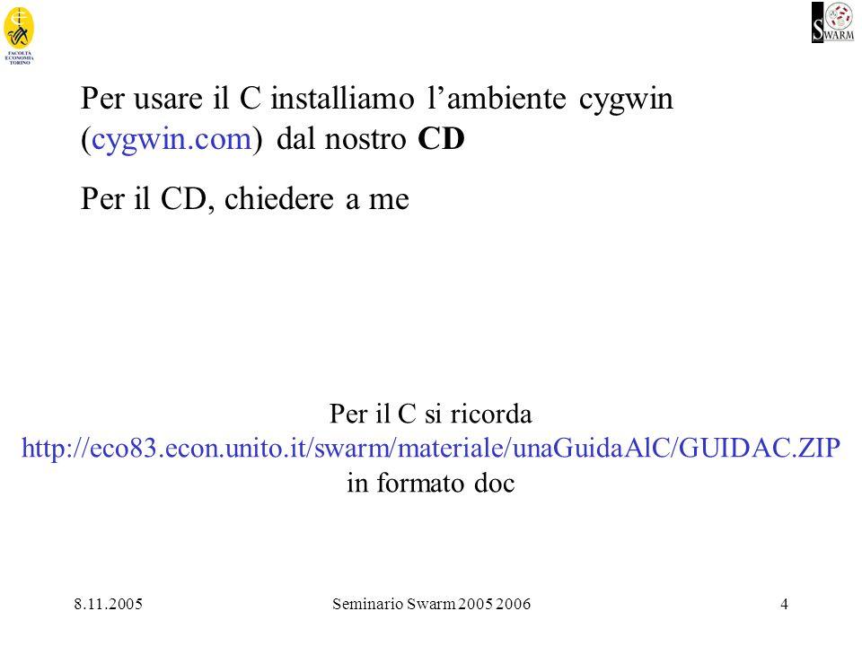 8.11.2005Seminario Swarm 2005 20064 Per usare il C installiamo lambiente cygwin (cygwin.com) dal nostro CD Per il CD, chiedere a me Per il C si ricorda http://eco83.econ.unito.it/swarm/materiale/unaGuidaAlC/GUIDAC.ZIP in formato doc