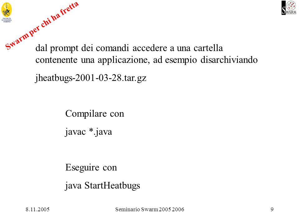8.11.2005Seminario Swarm 2005 20069 dal prompt dei comandi accedere a una cartella contenente una applicazione, ad esempio disarchiviando jheatbugs-2001-03-28.tar.gz Compilare con javac *.java Eseguire con java StartHeatbugs Swarm per chi ha fretta