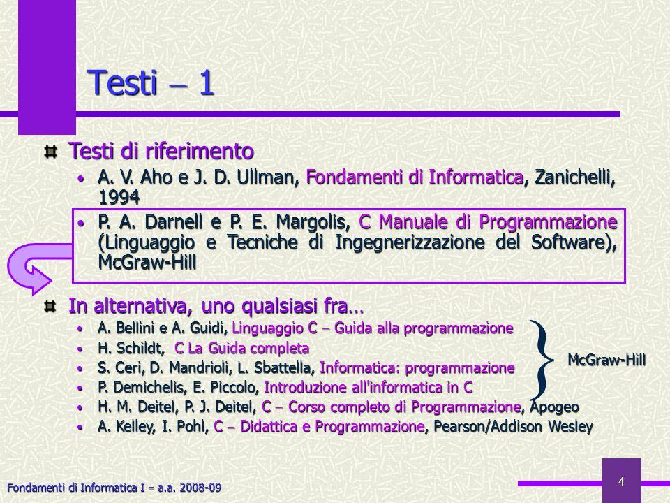 Fondamenti di Informatica I a.a.2008-09 5 Testi 2 Testi di consultazione A.