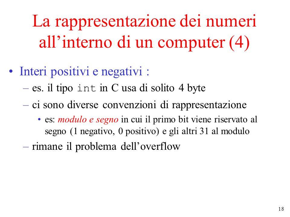 18 La rappresentazione dei numeri allinterno di un computer (4) Interi positivi e negativi : –es. il tipo int in C usa di solito 4 byte –ci sono diver