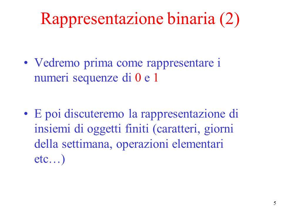 5 Rappresentazione binaria (2) Vedremo prima come rappresentare i numeri sequenze di 0 e 1 E poi discuteremo la rappresentazione di insiemi di oggetti