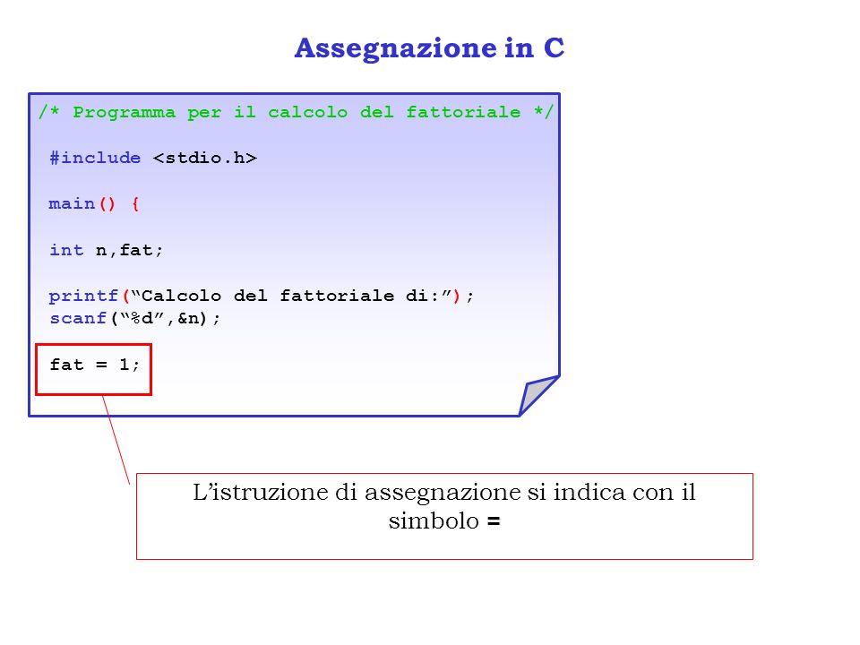 Assegnazione in C /* Programma per il calcolo del fattoriale */ #include main() { int n,fat; printf(Calcolo del fattoriale di:); scanf(%d,&n); fat = 1