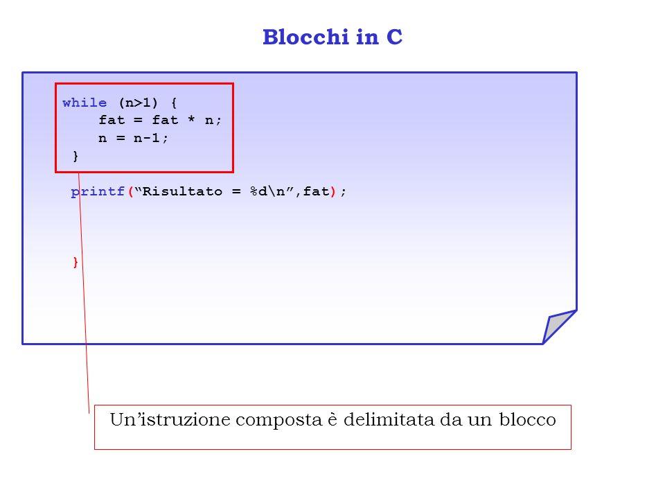 Blocchi in C while (n>1) { fat = fat * n; n = n-1; } printf(Risultato = %d\n,fat); } Unistruzione composta è delimitata da un blocco