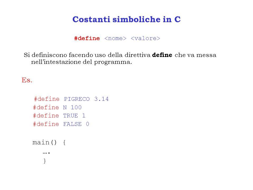 Costanti simboliche in C #define Si definiscono facendo uso della direttiva define che va messa nellintestazione del programma. Es. #define PIGRECO 3.