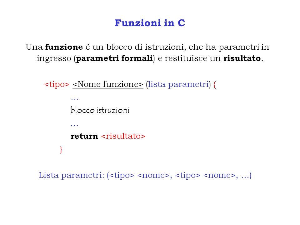 Funzioni in C Una funzione è un blocco di istruzioni, che ha parametri in ingresso ( parametri formali ) e restituisce un risultato. (lista parametri)