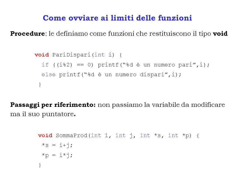 Come ovviare ai limiti delle funzioni Procedure : le definiamo come funzioni che restituiscono il tipo void void PariDispari(int i) { if ((i%2) == 0)