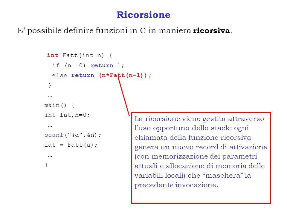 Ricorsione E possibile definire funzioni in C in maniera ricorsiva. int Fatt(int n) { if (n==0) return 1; else return (n*Fatt(n-1)); } … main() { int