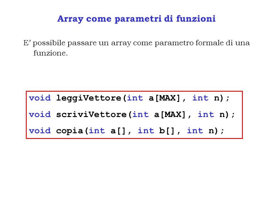 Array come parametri di funzioni E possibile passare un array come parametro formale di una funzione. void leggiVettore(int a[MAX], int n); void scriv