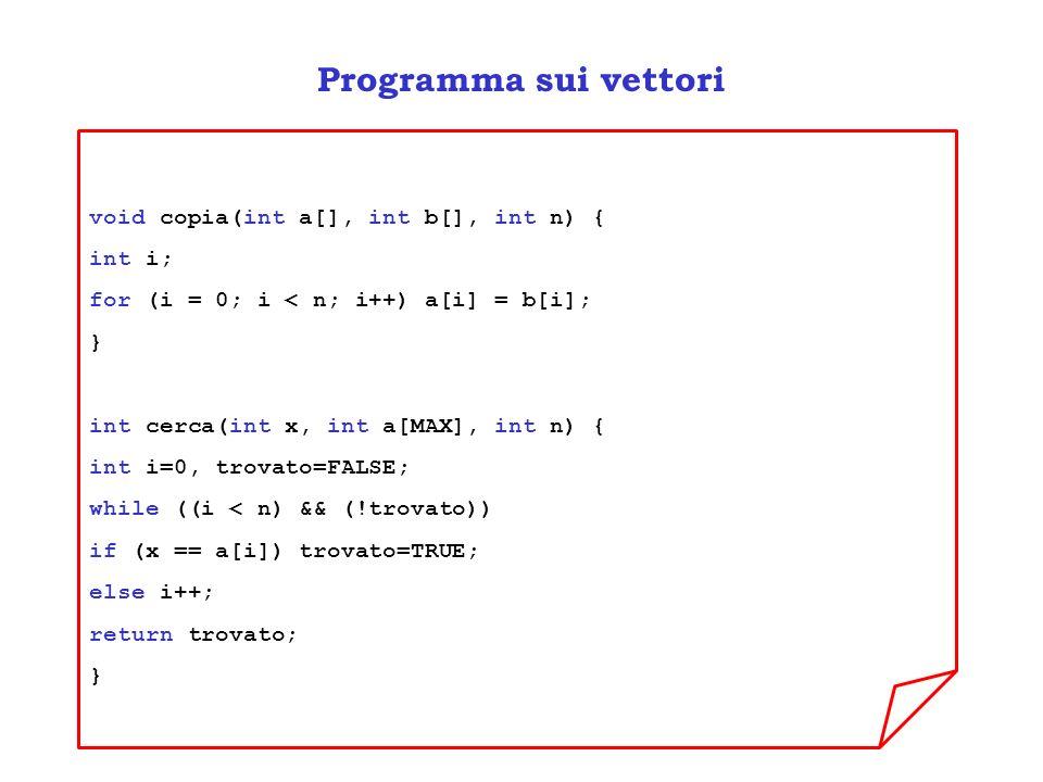 Programma sui vettori void copia(int a[], int b[], int n) { int i; for (i = 0; i < n; i++) a[i] = b[i]; } int cerca(int x, int a[MAX], int n) { int i=