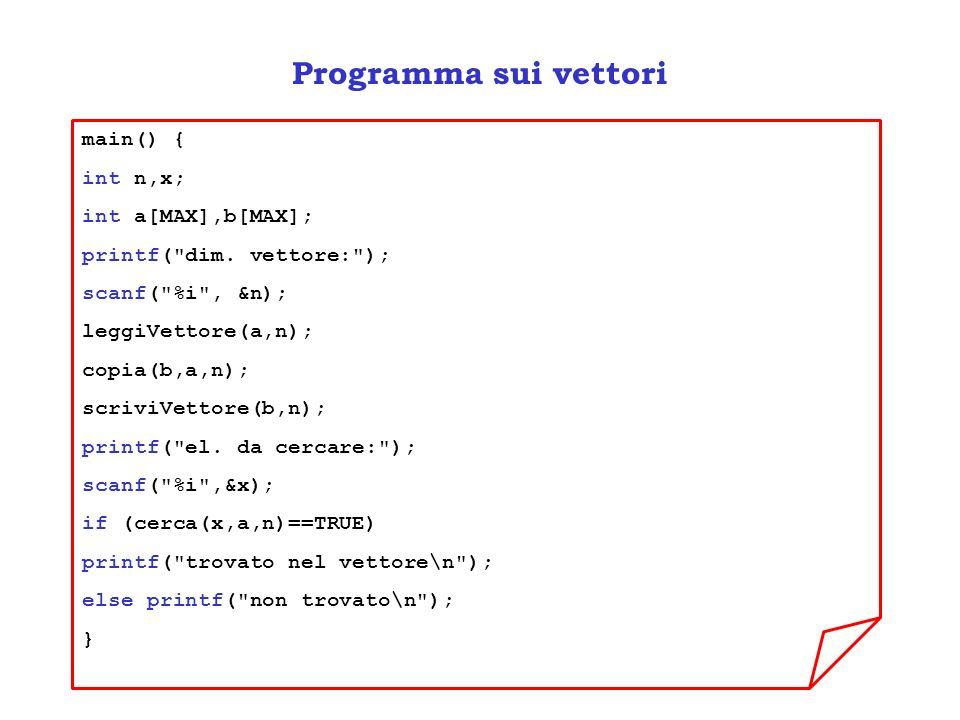 Programma sui vettori main() { int n,x; int a[MAX],b[MAX]; printf(
