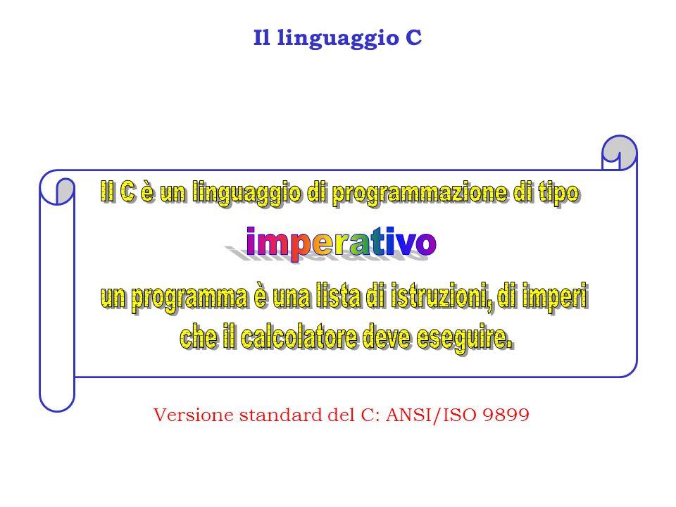 Variabili in C /* Programma per il calcolo del fattoriale */ #include main() { int n,fat; printf(Calcolo del fattoriale di:); scanf(%d,&n); fat = 1; variabile Una variabile viene dichiarata scrivendo il tipo seguito dal nome della variabile.