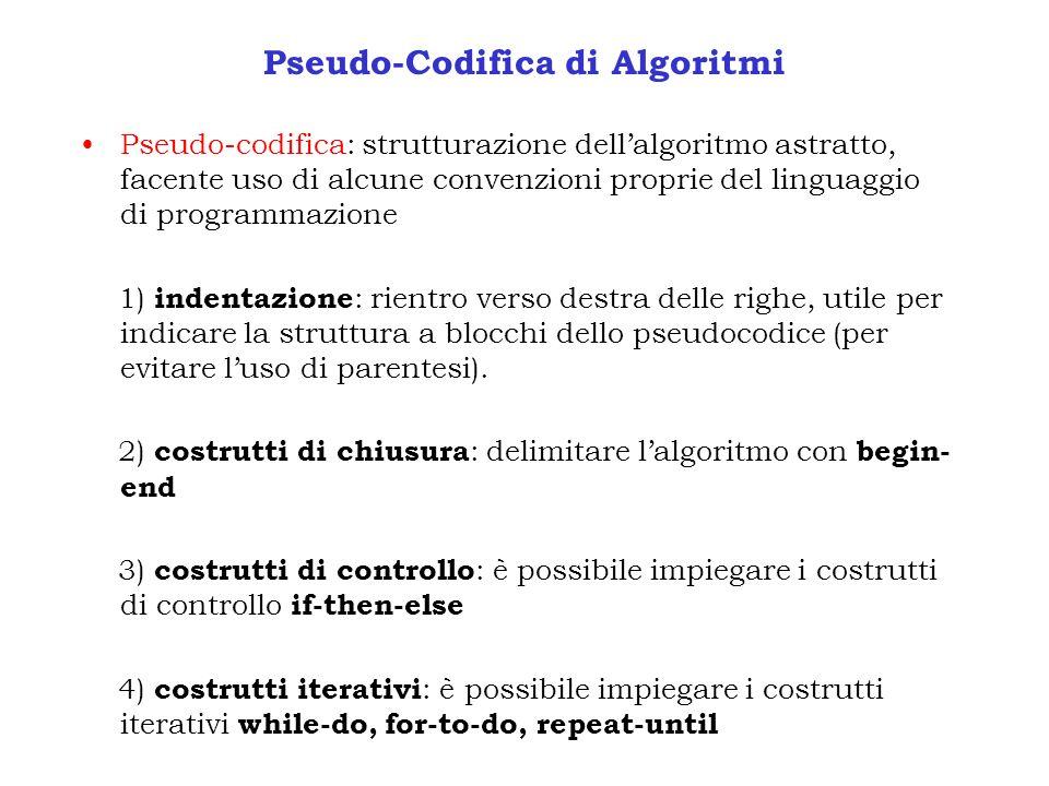 Pseudo-Codifica di Algoritmi Pseudo-codifica: strutturazione dellalgoritmo astratto, facente uso di alcune convenzioni proprie del linguaggio di progr