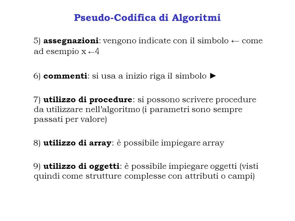 Pseudo-Codifica di Algoritmi 5) assegnazioni : vengono indicate con il simbolo come ad esempio x 4 6) commenti : si usa a inizio riga il simbolo 7) ut