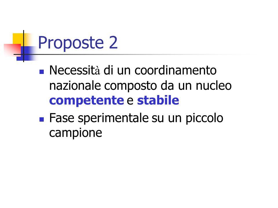 Proposte 2 Necessit à di un coordinamento nazionale composto da un nucleo competente e stabile Fase sperimentale su un piccolo campione