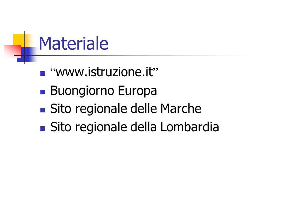 Materiale www.istruzione.it Buongiorno Europa Sito regionale delle Marche Sito regionale della Lombardia