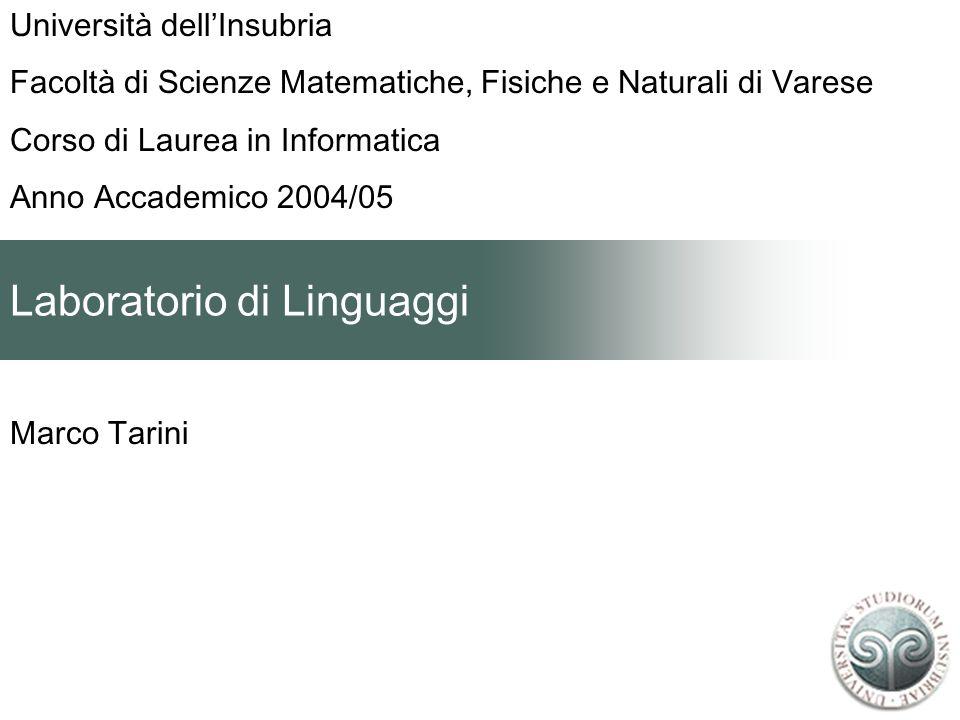 Laboratorio di Linguaggi Marco Tarini Università dellInsubria Facoltà di Scienze Matematiche, Fisiche e Naturali di Varese Corso di Laurea in Informat