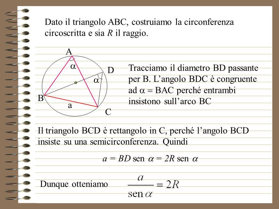 A B C Dato il triangolo ABC, costruiamo la circonferenza circoscritta e sia R il raggio.