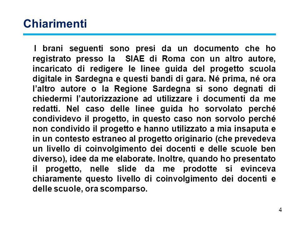 4 Chiarimenti I brani seguenti sono presi da un documento che ho registrato presso la SIAE di Roma con un altro autore, incaricato di redigere le line
