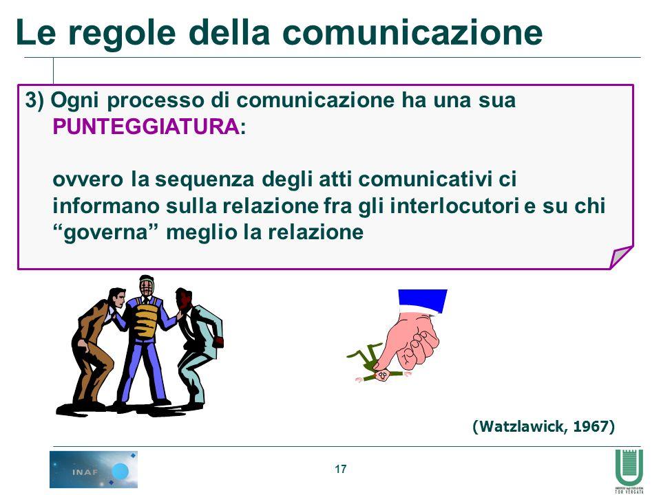 17 3) Ogni processo di comunicazione ha una sua PUNTEGGIATURA: ovvero la sequenza degli atti comunicativi ci informano sulla relazione fra gli interlo