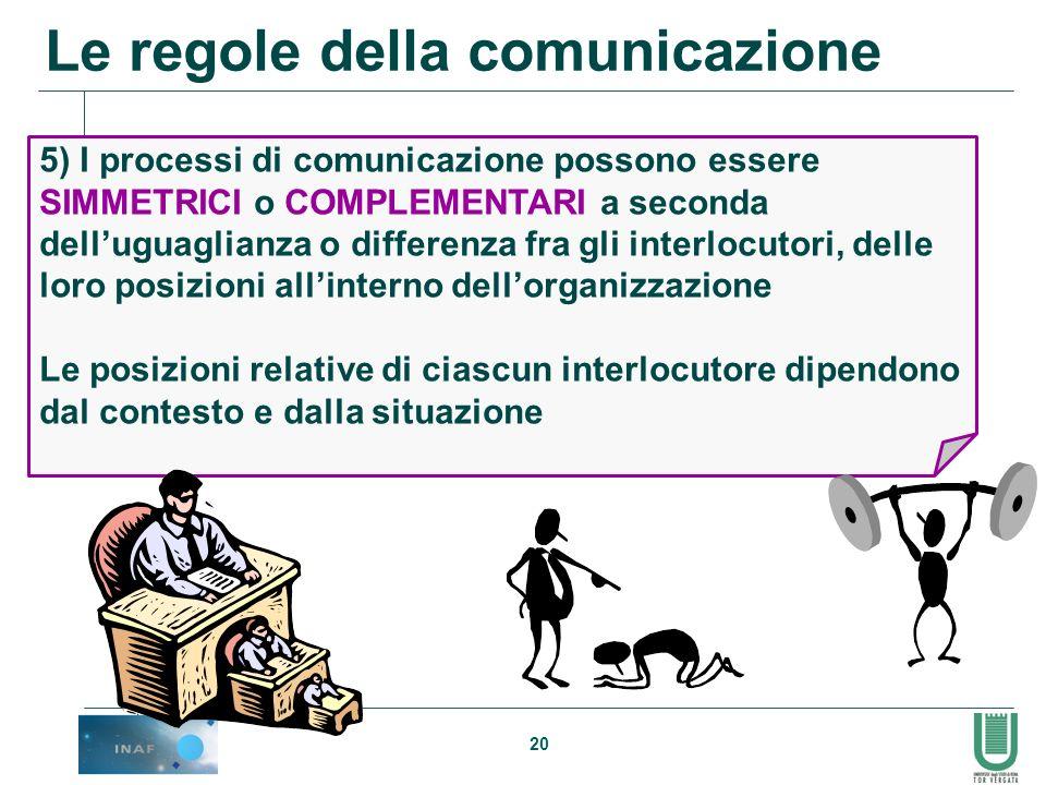 20 5) I processi di comunicazione possono essere SIMMETRICI o COMPLEMENTARI a seconda delluguaglianza o differenza fra gli interlocutori, delle loro p