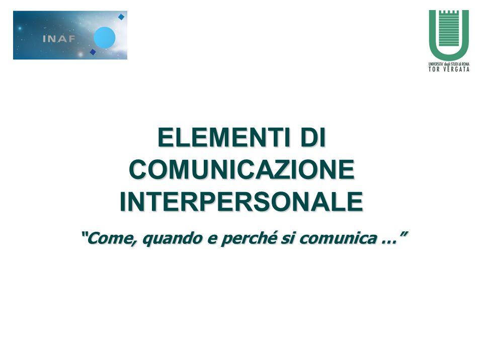 ELEMENTI DI COMUNICAZIONE INTERPERSONALE Come, quando e perché si comunica …