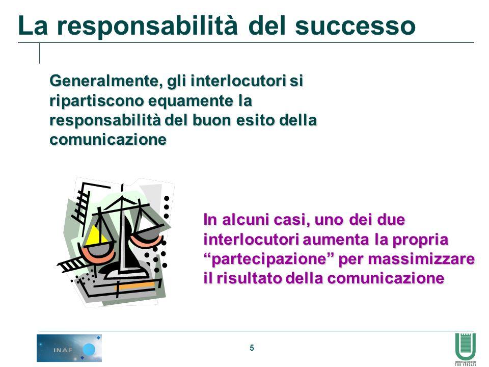 5 Generalmente, gli interlocutori si ripartiscono equamente la responsabilità del buon esito della comunicazione In alcuni casi, uno dei due interlocu