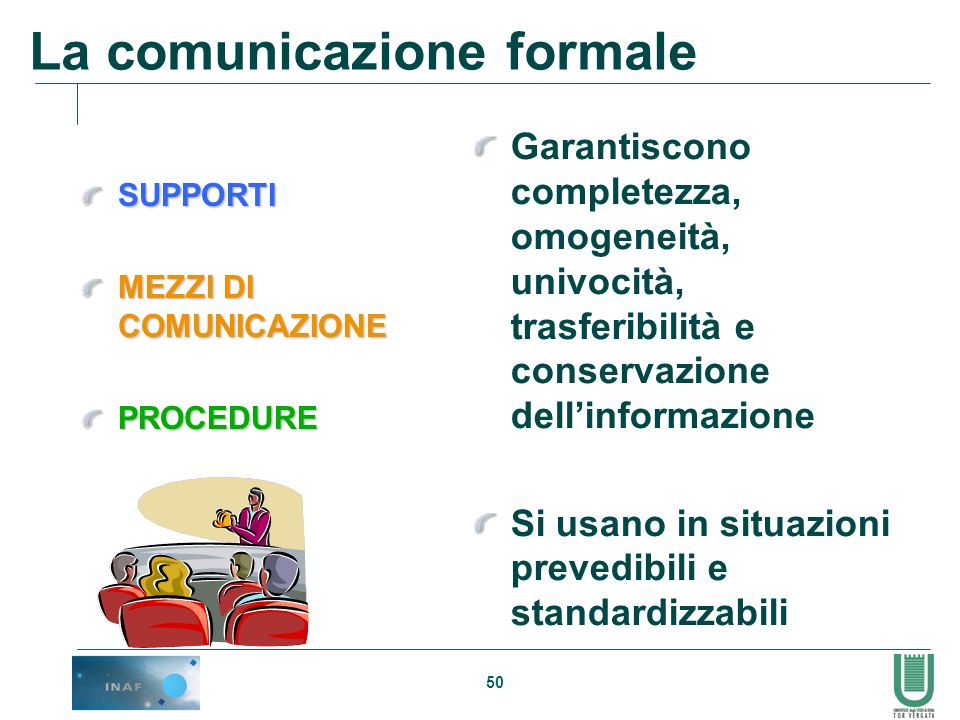 50 La comunicazione formale SUPPORTI MEZZI DI COMUNICAZIONE PROCEDURE Garantiscono completezza, omogeneità, univocità, trasferibilità e conservazione