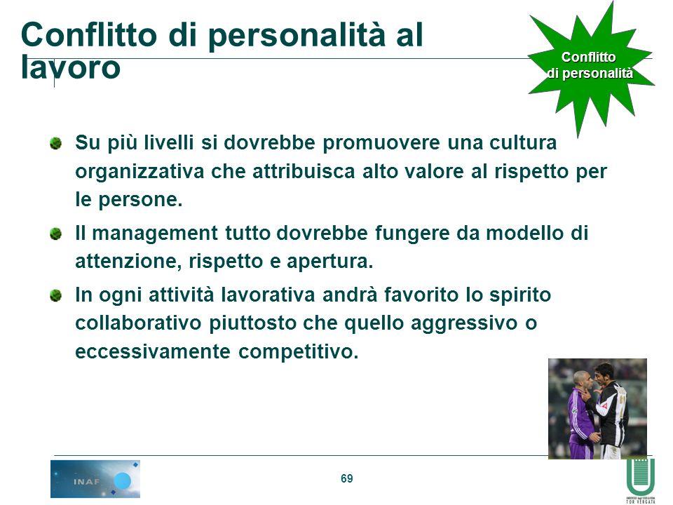 69 Conflitto di personalità al lavoro Su più livelli si dovrebbe promuovere una cultura organizzativa che attribuisca alto valore al rispetto per le p