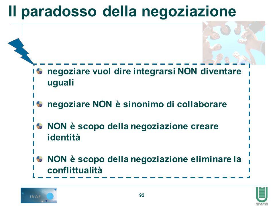 92 Il paradosso della negoziazione negoziare vuol dire integrarsi NON diventare uguali negoziare NON è sinonimo di collaborare NON è scopo della negoz