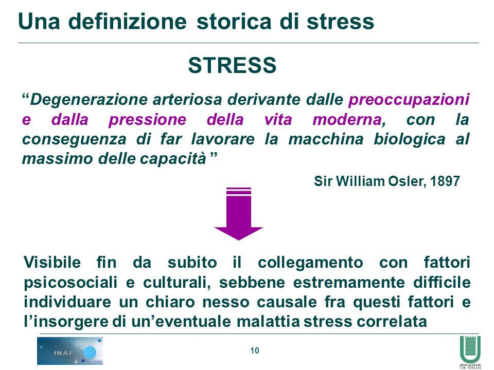 10 Una definizione storica di stress STRESS Degenerazione arteriosa derivante dalle preoccupazioni e dalla pressione della vita moderna, con la conseg