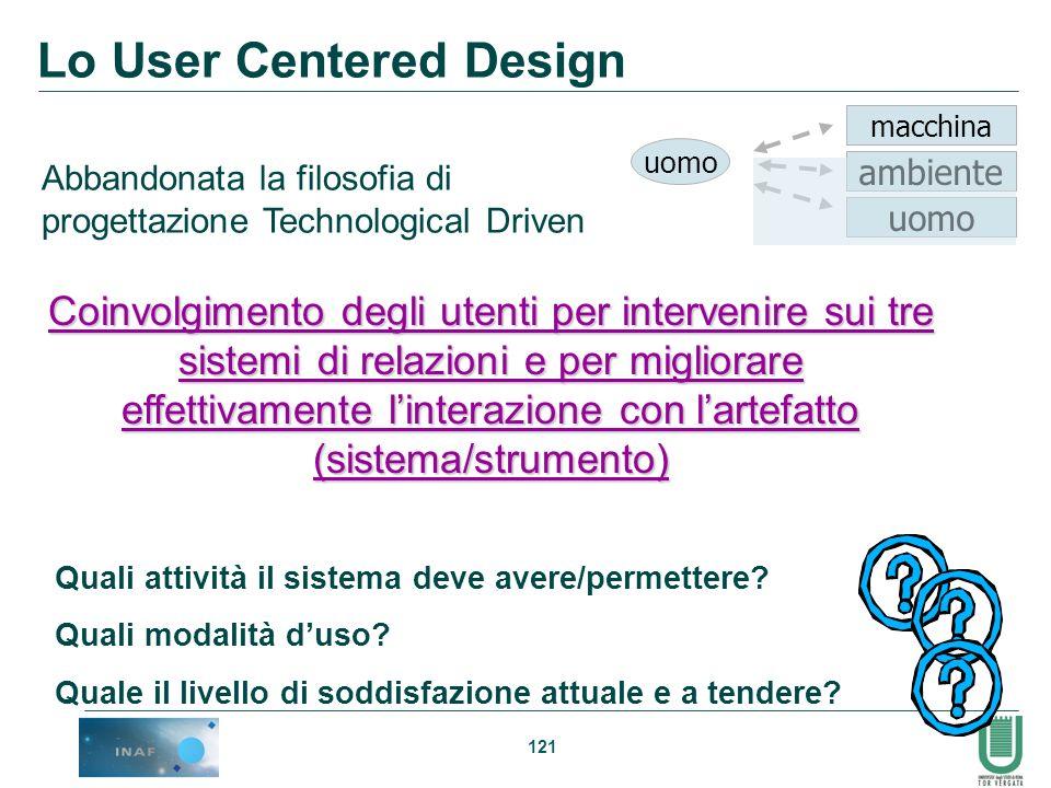 121 Lo User Centered Design Abbandonata la filosofia di progettazione Technological Driven Coinvolgimento degli utenti per intervenire sui tre sistemi