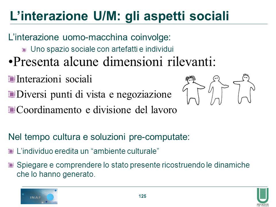 125 Linterazione uomo-macchina coinvolge: Uno spazio sociale con artefatti e individui Presenta alcune dimensioni rilevanti: Interazioni sociali Diver