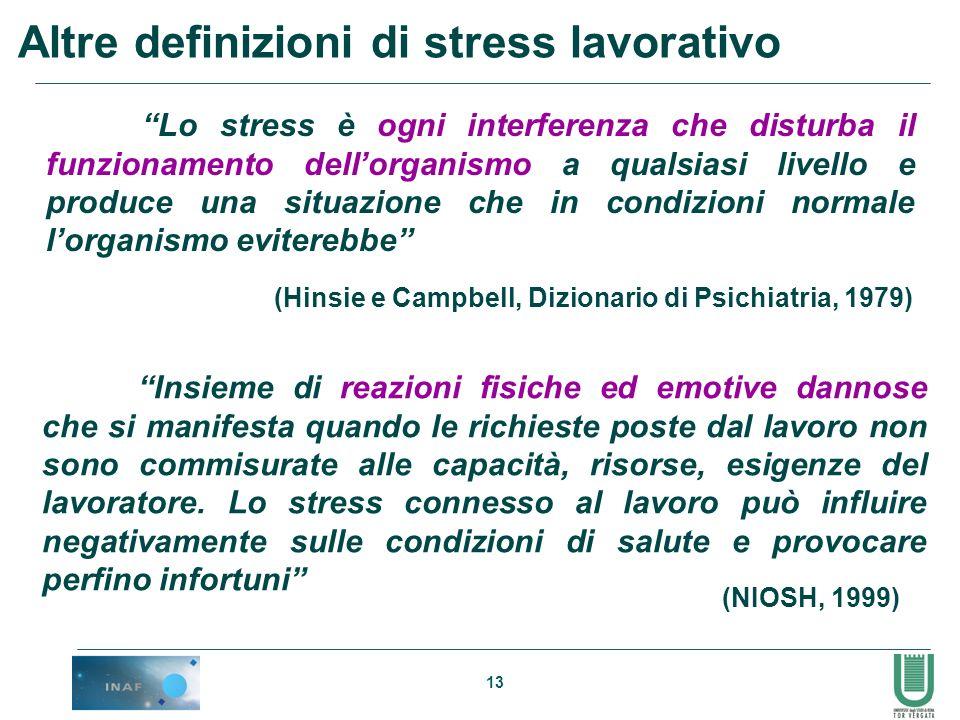 13 Altre definizioni di stress lavorativo Insieme di reazioni fisiche ed emotive dannose che si manifesta quando le richieste poste dal lavoro non son