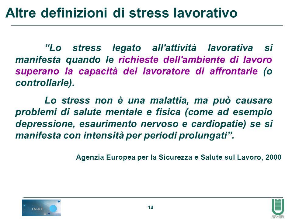 14 Altre definizioni di stress lavorativo Lo stress legato all'attività lavorativa si manifesta quando le richieste dell'ambiente di lavoro superano l