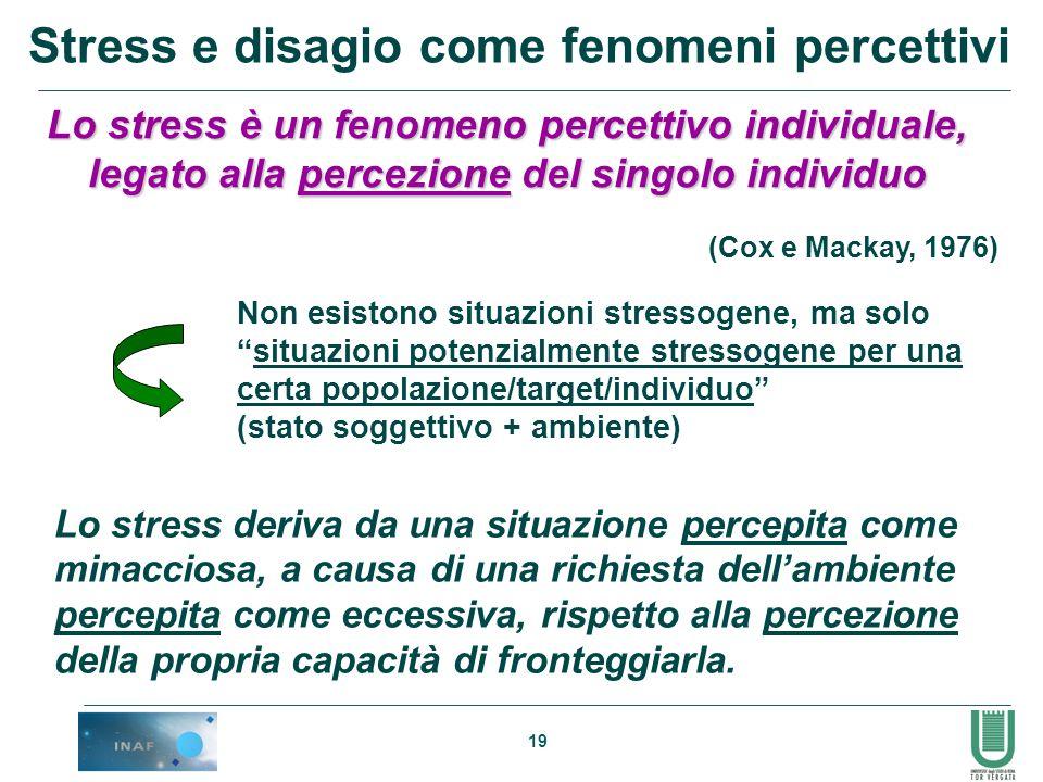 19 (Cox e Mackay, 1976) Lo stress è un fenomeno percettivo individuale, legato alla percezione del singolo individuo Non esistono situazioni stressoge