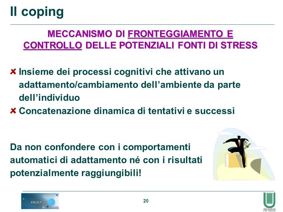 20 Il coping MECCANISMO DI FRONTEGGIAMENTO E CONTROLLO DELLE POTENZIALI FONTI DI STRESS Insieme dei processi cognitivi che attivano un adattamento/cam