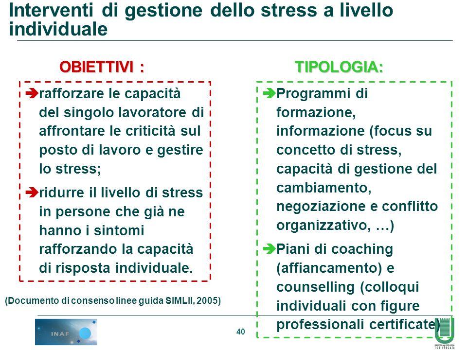 40 Interventi di gestione dello stress a livello individuale rafforzare le capacità del singolo lavoratore di affrontare le criticità sul posto di lav