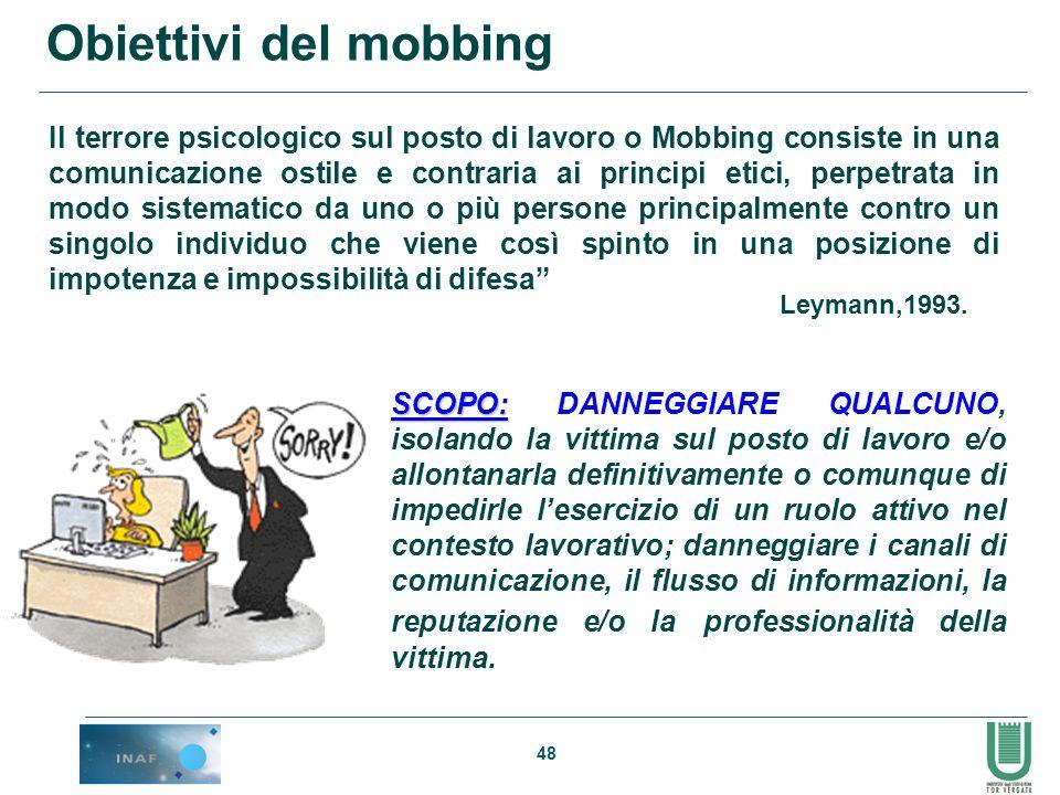 48 Obiettivi del mobbing Il terrore psicologico sul posto di lavoro o Mobbing consiste in una comunicazione ostile e contraria ai principi etici, perp