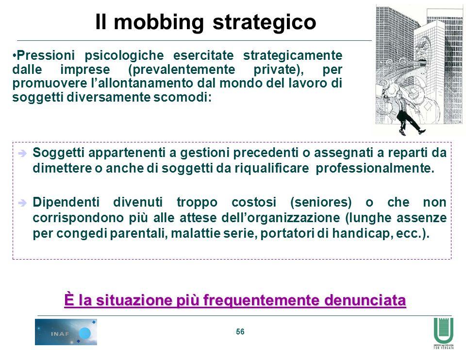 56 Il mobbing strategico Pressioni psicologiche esercitate strategicamente dalle imprese (prevalentemente private), per promuovere lallontanamento dal